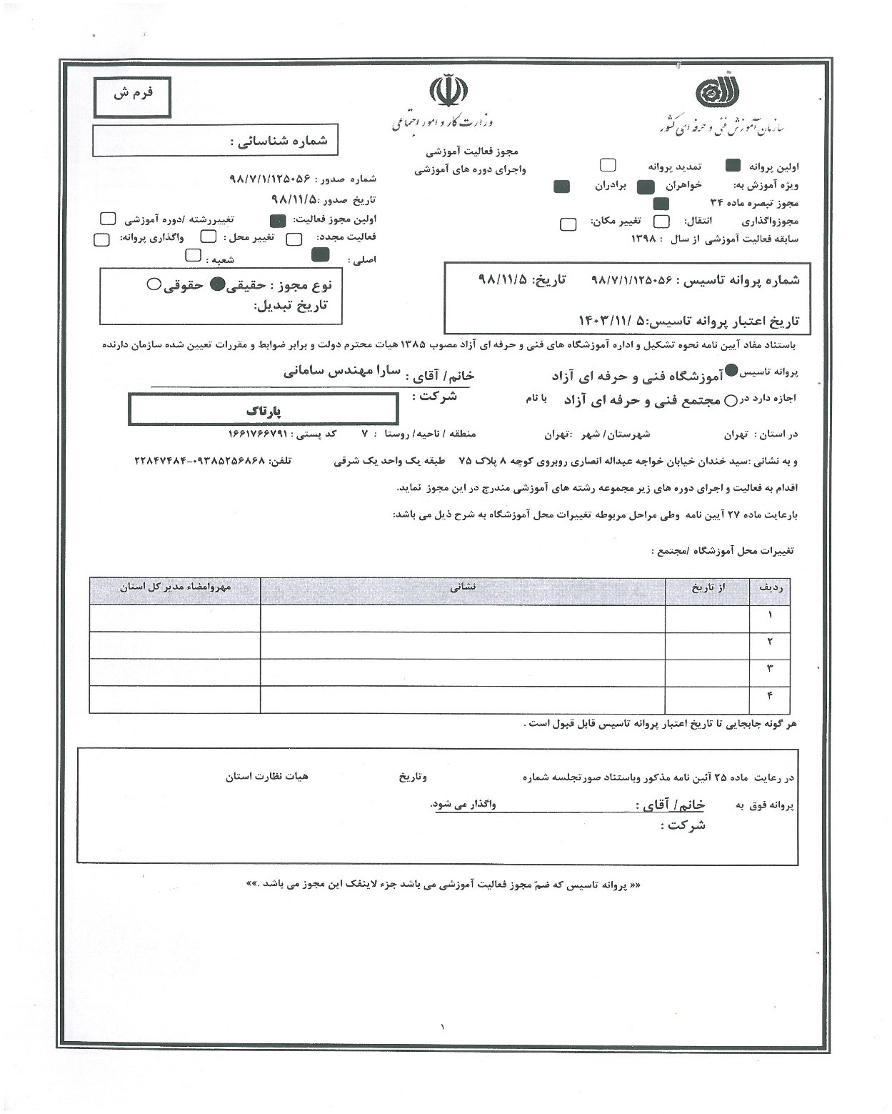 مجوز سازمان فنی و حرفه ای کشور